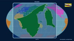 Brunei - 3D tube zoom (Kavrayskiy VII projection). Continents - stock footage