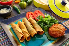 Mexican flautas rolled tacos with salsa - stock photo