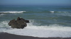 Foamy sea at Moon Stone Beach near Cambria Stock Footage