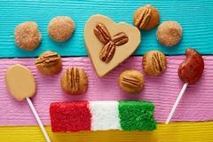 Mexican candy cajeta pecan coconut flag Stock Photos