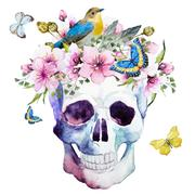 Watercolor skull with flowers - stock illustration