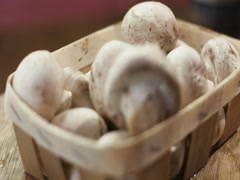 Cultivated mushrooms in a basket closeup Stock Footage