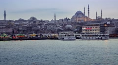 Traffic of ships near Istanbul's waterfront .  Transition from day to night Stock Footage