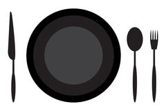 Dining etiquette plate spoon knife and fork Piirros