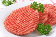 hamburger patties - stock photo
