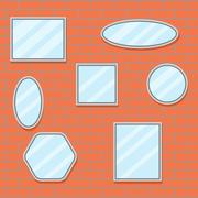 Mirror set design brick wall Stock Illustration