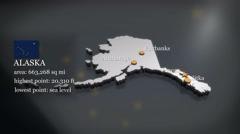 3D animated Map of Alaska Stock Footage
