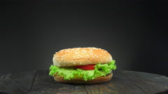 Rotating hamburger Stock Footage