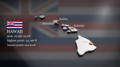 3D animated Map of Hawaii Stock Footage