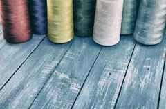 Vintage photo colored threads for sewing and embroidery - stock photo