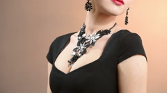 Necklace on the neck Stock Footage