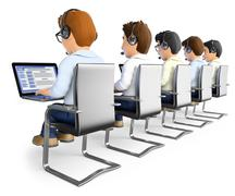 3D Men working in a call center Piirros