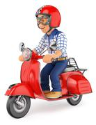 3D Teenager riding a scooter motorcycle Piirros