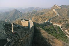 the great wall of china on a sunny day - stock photo
