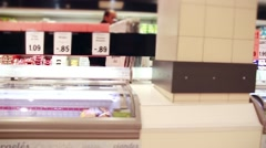 Supermarket Freezer With Price Tags, Tracking Shot Stock Footage