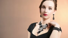 necklace on the neck - stock footage