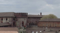Zoom out on landmarks castle, cathedral and Tower, Vigevano, PV, Italy Stock Footage
