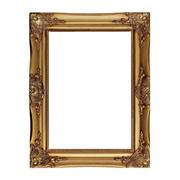 antique golden picture frame isolated on white - stock photo