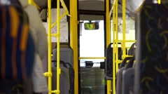 Riding in the almost empty city bus Stock Footage