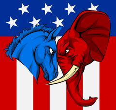 American Election Donkey Elephant Concept Stock Illustration