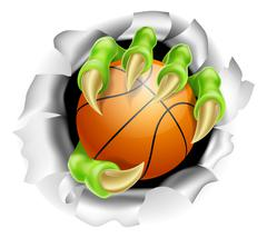 Claw with Basketball Ball Breaking out Of Background Stock Illustration