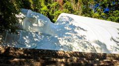 Monumental Buddha Statue Reclining Posture Ta Cu Mountain Temple Stock Footage