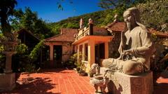 Monumental Sitting Buddha Statue Ta Cu Mountain Temple Stock Footage