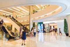 interiors of Siam Paragon Shopping mall, Bangkok - stock photo