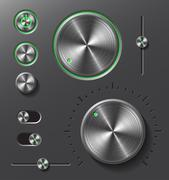 Grey metal buttons and dials set - stock illustration
