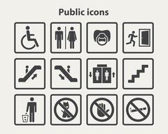 Public information icons set Stock Illustration