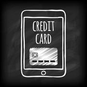 Doodle touch pad with credit card Stock Illustration