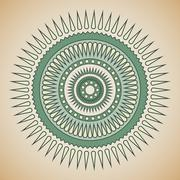 Green and beige tribal circle design - stock illustration