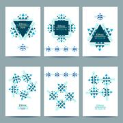 Set of white cards with ethnic design - stock illustration