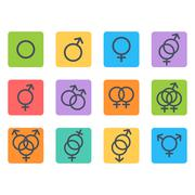 Sexual orientation icons Stock Illustration