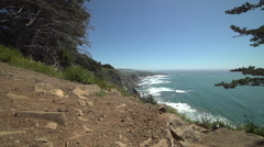 Right dolly shot above Big Sur coast Stock Footage
