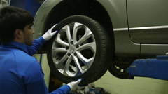 replacement tires in garage - stock footage