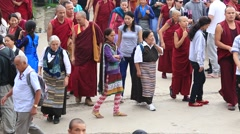 Tibetan monks and people from lessons Dalai Lama, Dharamsala. India Stock Footage