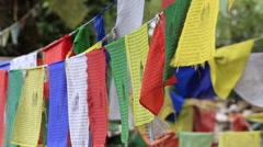 Colorful Buddhist prayer flags at temple in Dharamsala , India Stock Footage