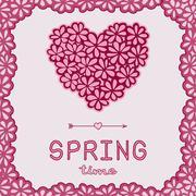 Spring time doodle card - stock illustration