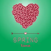 Spring time card with heart shaped bouquet Stock Illustration