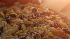 Fresh Vegetarian Pizza Stock Footage