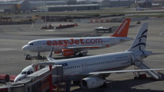 4k Easyjet Airbus A320 leading to start runway Hamburg airport airfield Stock Footage