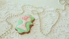 Beautiful gingerbread colored glaze. Female silhouette - stock footage