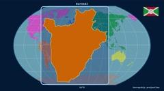 Burundi - 3D tube zoom (Kavrayskiy VII projection). Continents - stock footage