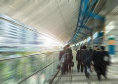 People motion at street, downtown view of Tokyo. - stock photo