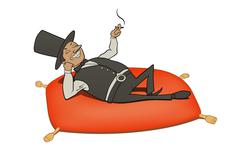 Rich man relaxation Stock Illustration