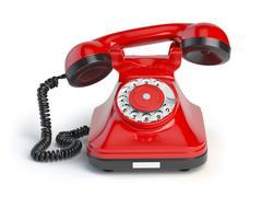 Vintage red telephone isolated on white background. Retro styled telephone Stock Illustration