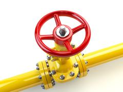 Yellow gas pipe line valves isolated on white. Fuel and energy industrial sup Stock Illustration
