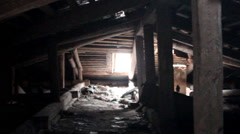 Attic of a ruined house Stock Footage