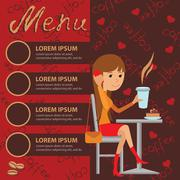 Vector illustration of template for menu, brochure, flyers cafe or restaurant Piirros